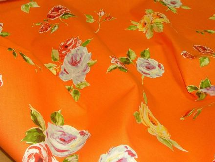 "Prestigious Textiles ""Ella"" Orange Floral Cotton Curtain/Soft Furnishing Fabric"